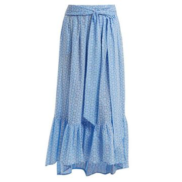Lisa Marie Fernandez - Floral Embroidered Cotton Skirt - Womens - Blue Multi