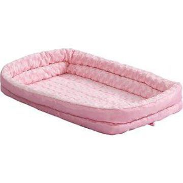 MidWest Quiet Time Fashion Plush Double Bolster Dog Crate Mat, Pink, 18-in