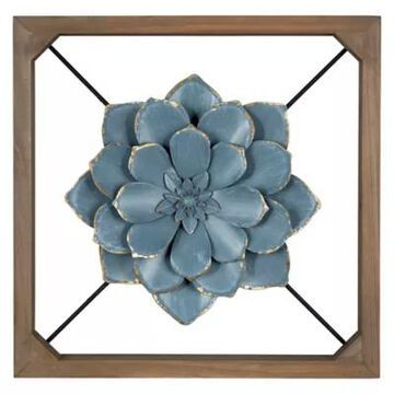 Stratton Home Decor 3D Floating Flower 15.8-Inch x 15.8-Inch Wall Decor in Blue