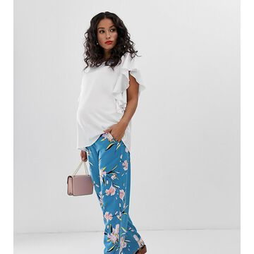 Mamalicious maternity floral wide leg pants