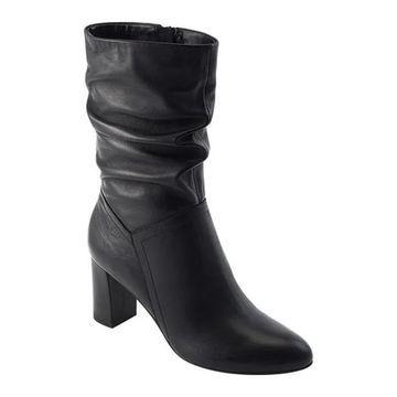 David Tate Women's Velvet Mid Calf Slouch Boot Black Lambskin