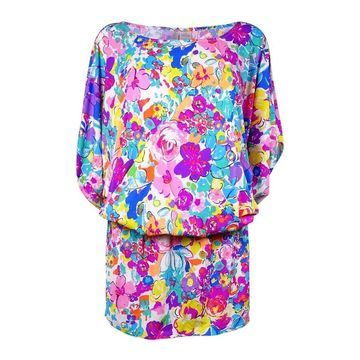 Anne Cole Women's Smocked Floral Doodle Swim Cover (S/M, Multi) - Multi - S/M