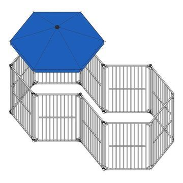 ALEKO 10 Panels Modular Dog Playpen with Door and Umbrella