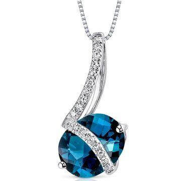 Oravo 14k White Gold London Blue Topaz Diamond Pendant Oval 2.3 carat