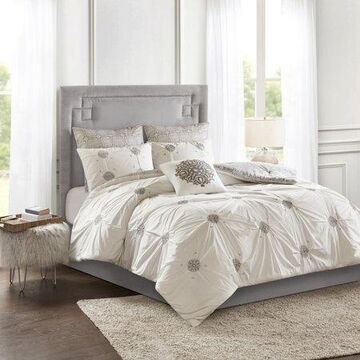 Home Essence Alicia 6 Piece Embroidered Cotton Reversible Comforter Set