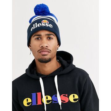 ellesse Meddon bobble beanie in blue/navy