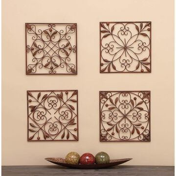 Set of 4 Traditional Floral Scrollwork Metal Wall Decor by Studio 350