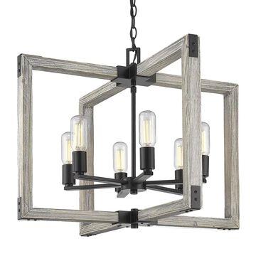 Golden Lighting Lowell 6-Light Black Rustic Cage Chandelier   7808-6 BLK