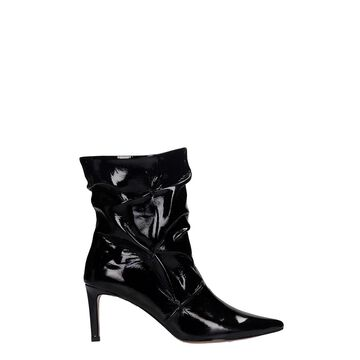 Bibi Lou High Heels Ankle Boots In Black Patent Leather