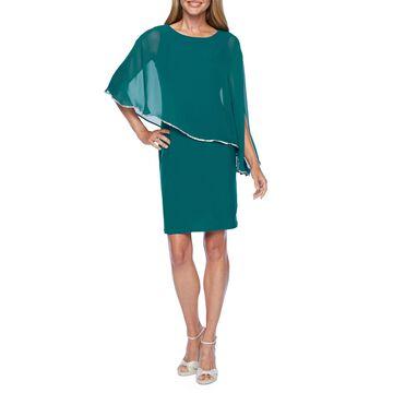 MSK 3/4 Sleeve Rhinestone Trim Cape Sheath Dress