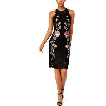 Betsy & Adam Womens Floral Lace Cocktail Dress