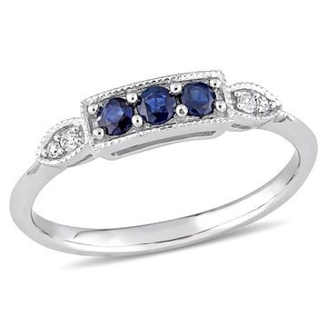 Miadora 10k White Gold Blue Sapphire and Diamond Bar Ring