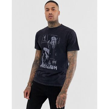 Religion t-shirt with band print in vintage black
