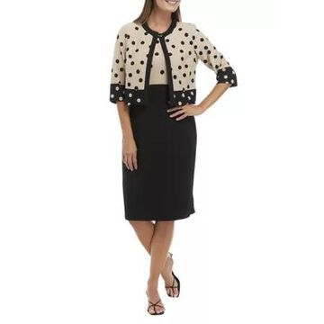 Danny & Nicole Women's Short Sleeve Dot Jacket And Color Block Dress Set -
