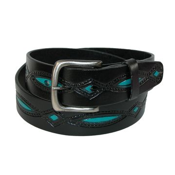 CTM Men's Oil Tanned Leather Belt with Embossed Turquoise Accents