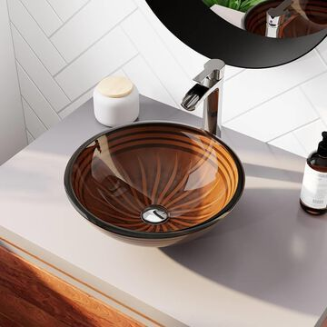 MR Direct Red, Orange, Black Tempered Glass Vessel Round Bathroom Sink with Faucet (Drain Included) (16.5-in x 16.5-in) | 616-731-C