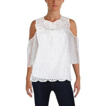 Kobi Halperin Womens Klarissa Silk Lace Overlay Casual Top