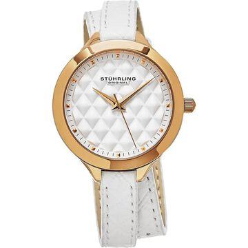 Stuhrling Original Women's Vogue Quartz White Double Wrap Leather Strap Watch (Stuhrling Original Women's Watch)