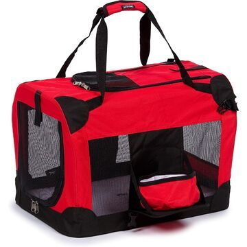 Pet Life Folding Deluxe 360 Degree Vista View House Pet Crate in Red, 19