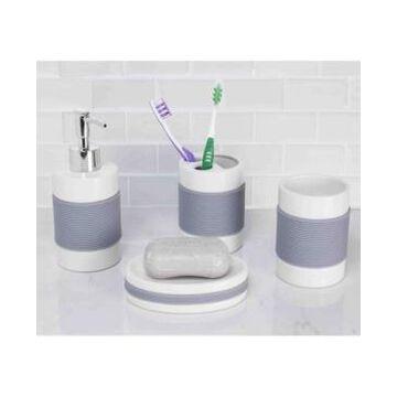Home Basics Bath Accessory 4 Piece Set with Rubber Grip Bedding