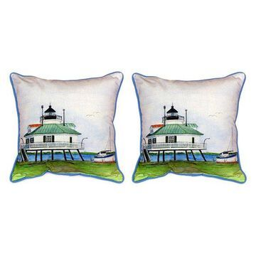 Pair of Betsy Drake Hooper Strait Lighthouse Large Pillows 15 Inch x 22 Inch