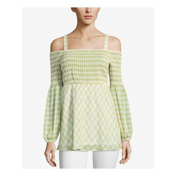 ECI Womens Green Gingham Print Long Sleeve Off Shoulder Top Size: M