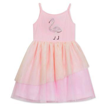 Little Girls Two-Tone Flamingo Dress