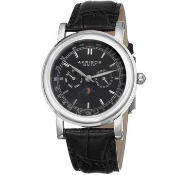 Akribos XXIV Men's Quartz Multifunction Matte Dial Black Leather Silver-Tone Strap Watch (Silver-tone/Black)