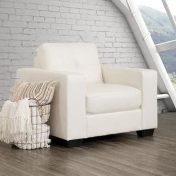 CorLiving Tufted Bonded Leather Armchair (White)