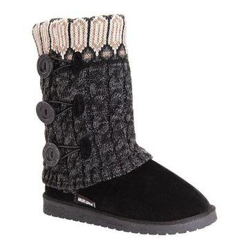 MUK LUKS Women's Cheryl Slipper Boot Ebony Acrylic/Polyester/Synthetic