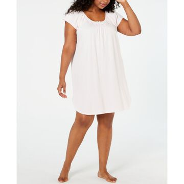 Plus Size Embroidered Smocking-Trim Nightgown
