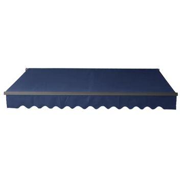 ALEKO Black Frame 12 x 10 ft Retractable Home Patio Canopy Awning Blue (Blue)