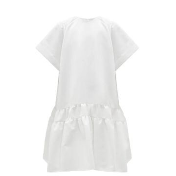 Rochas - Tie-back Tiered Duchess-satin Dress - Womens - Ivory