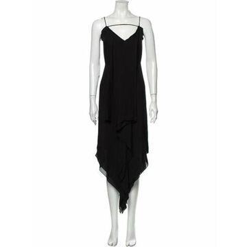 V-Neck Midi Length Dress w/ Tags Black