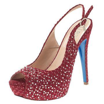 Loriblu Red Crystal Embellished Textured Nubuck Platform Slingback Sandals Size 37.5