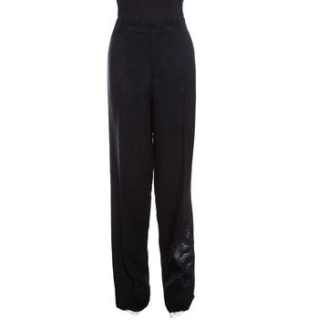 Rochas Black Floral Embroidered Mesh Detail Tailored Trousers XL