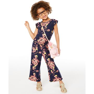 Little Girls Floral-Print Flutter-Sleeve Jumpsuit, Created for Macy's
