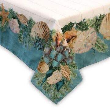 Laural Home Christmas by the Sea 70-Inch Tablecloth in Beige/Green