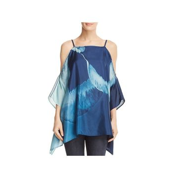 Lafayette 148 New York Womens Blouse Silk Cold Shoulder