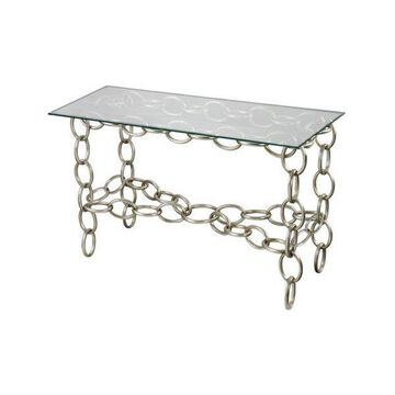 Sterling Industries Chain Console Table With Clear Glass Top, Silver Leaf