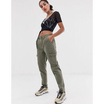 Noisy May pocket detail relaxed cargo pants-Green