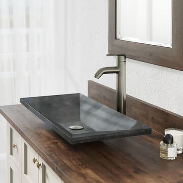 MR Direct Shanxi Black Granite Vessel Rectangular Bathroom Sink with Faucet (Drain Included) (28-in x 13-in) | 861-718-BN
