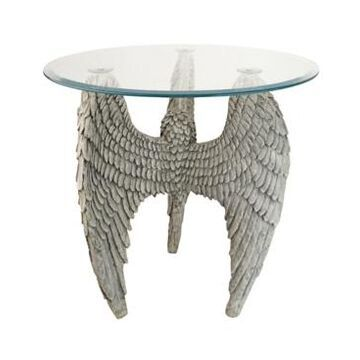 Design Toscano Angel Wings at our Feet Glass-Topped Sculptural Table