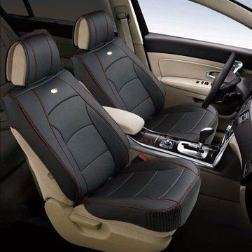 FH Group Ultra Comfort Leatherette 2 Front Seat Cushions, Black with Red Trim