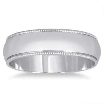 Marquee Jewels 14k White Gold 5-millimeter Milgrain Edge Comfort Fit Wedding Band