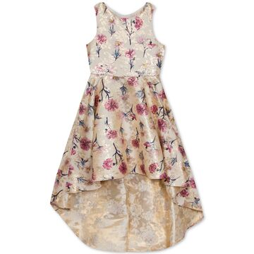 Big Girls Floral-Print Brocade High-Low Dress