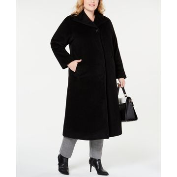 Plus Size Wing-Collar Maxi Coat