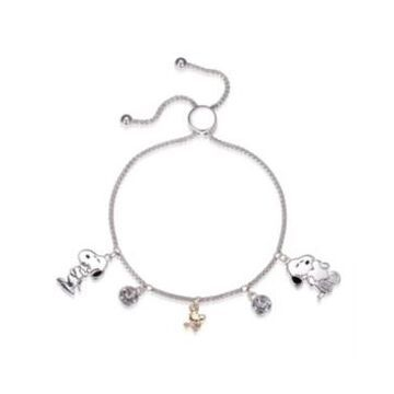 """Peanuts """"Snoopy"""" and """"Woodstock"""" Crystal Adjustable Bolo Fine Silver Plated Bracelet, Created for Macy's"""