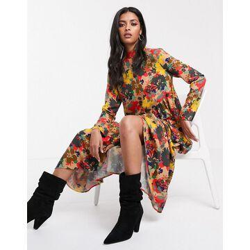 Lost Ink oversized smock dress in floral-Multi