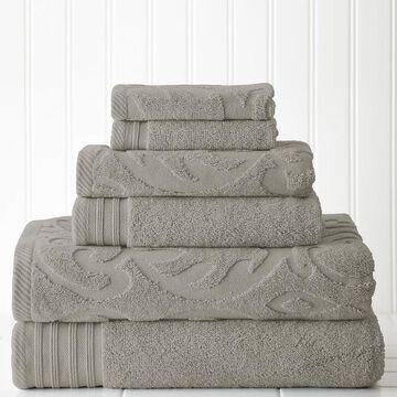 Pacific Coast Textiles 6-piece Jacquard Medallion Swirl & Solid Mix & Match Towel Set, Grey, 6 Pc Set